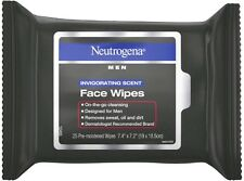 Neutrogena Men Invigorating Scent Face Cleansing Wipes, 25 ea
