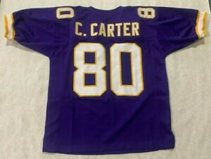 UNSIGNED CUSTOM Sewn Stitched HOF CHRIS CARTER PURPLE Jersey - XL