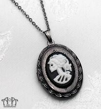 Gothic Lolita LADY SKELETON SKULL CAMEO LOCKET Necklace Black White Gunmetal D26