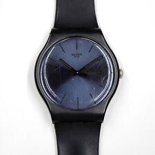 2010 Swatch BLACK REBEL SUOB702 New Gents DAY/DATE big watch black navy blue