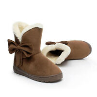 Bowknot Chaud Femmes Flats Neige Bottes courtes Automne Hiver Chaussures
