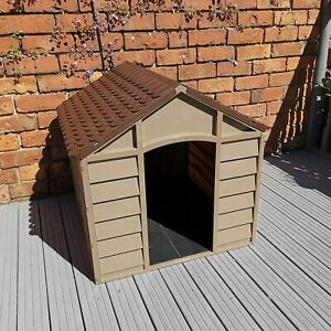 Plastic Dog Kennel Pet Shelter Plastic Durable Outdoor House - Color Brown