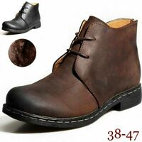 Fur Lined/No Fur Men's Chukka Leather Lace-Up Ankle Chelsea Boots Casual Shoes