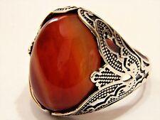 TurkishOttoman Vintage Natural Agate Gemstone Solid 925 Sterling Silver Men Ring