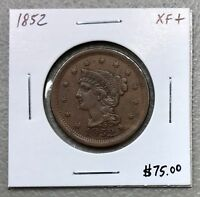 1852 U.S. BRAIDED HAIR LARGE CENT ~ XF+ CONDITION! $2.95 MAX SHIPPING! C806