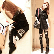 Sexy Womens*Ladies Punk Gothic Torn Slashed Ripped Cut Striped Leggings Pants
