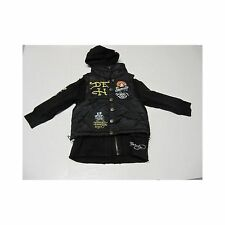 Ed Hardy Kids Black Puffer Vest attached Hoodie Sweatshirt Jacket Size 4