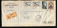 France 1958 Large Registered Airmail Cover to USA / Light Fold & Creasing - Z174