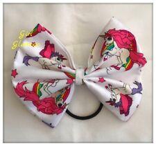 Arco de Pelo Tela Blanca Rosa Unicornio-Cola de Caballo Diadema Elástico Banda Vestido Corbata