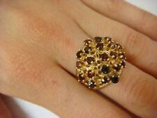 BEAUTIFUL 14K YELLOW GOLD 2 CT T.W. GENUINE GARNETS VINTAGE CLUSTER LADIES RING