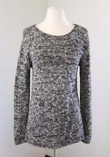 J.Crew Marled Knit Boatneck Sweater Size S Cotton Gray Black White Long Sleeve