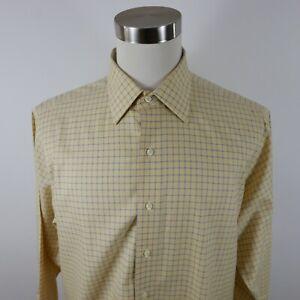 Brooks Brothers Mens Non Iron LS Button Up Yellow Navy Plaid Dress Shirt 16.5-33