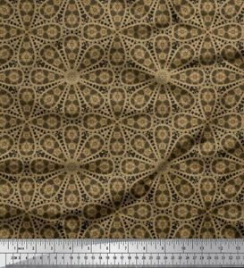 Soimoi Cotton Poplin Fabric Stripe & Floral Block Print Fabric by-jQh