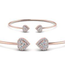 1ct Round Cut VVS1/D Diamond Halo Heart Open Cuff Bracelet 14k Rose Gold Over