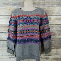 Chaps Denim Size L Aztec Nordic Sweater Gray Bright Crew Neck Ralph Lauren S12