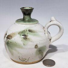 Studio Art Pottery Jug Bud Vase Green Thumbprint Handle Signed Stevenson 86
