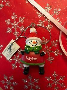 Ganz Jolly Jingles Snowman Christmas Ornament - Personalized KAYLEE