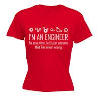 ENGINEER NEVER WRONG WOMENS T-SHIRT nerd geek joke tee funny mothers day gift