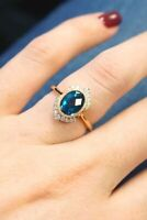 Art Deco 2.20ct Oval Sapphire Wedding Engagement Vintage Antique Ring IgHY8