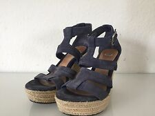 UGG Wedge Sandals Purple/Suede Blue w 7 NEW 38 Blogger Lauri