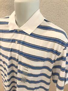 NEW Shirt Golf Polo XL Mens Casual Cotton Poly JOHN ASHFORD White Blue