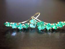2.5CTW Glowing Colombian Emerald 14K Gold Long Curved Ear Cuff Earrings