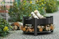 Korono Feuerschale aus Stahl mit Holzfach  Ø 60-70-80cm mit 3 Beinen, Hand Made