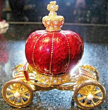2pc Trinket Box Cinderella Strawberry Carriage Austrian Crystal Red Enamel Brass