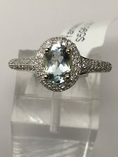 10K Yellow Gold Oval Natural Aquamarine and Pave Diamond 0.30ct Ring Size 7