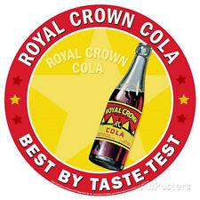 Royal Crown Cola RC Soda Best By Taste Test Round Tin Sign - 12x12