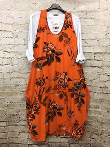 2-teilig Damen Kleid Tunika Lagenlook Übergröße 44 46 48 50 Lagenlook Print Neu