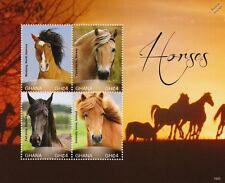HORSES Stamp Sheet (Mustang/Fjord/Fell Pony/Icelandic Horse) 2015 Ghana