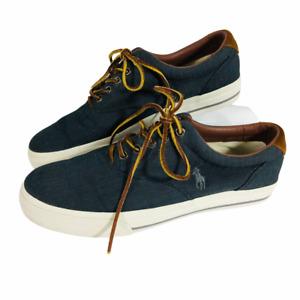 Polo Ralph Lauren Vaughn Mens Shoes Sneakers Leather Canvas Sz 9.5D Herringbone