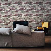 Vinyl Wallpaper wall coverings textured rolls green red modern rustic old brick