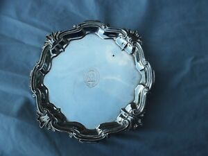 1762 fine early Georgian silver salver by John Swift nice crest and motto 275g