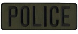 POLICE patches in Green with Black lettering. Sew on or heal seal