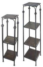 Set of 2 Wrought Iron Pedestal Display Stand End tables with shelves, 3 & 4-tier