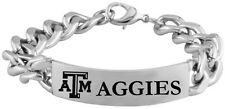 TEXAS A&M UNIVERSITY AGGIES * Stainless Steel ID Bracelet with Logo NCAA Jewelry