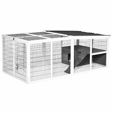 PawHut Rabbit Hutch Wooden Animal Cage Pet Run Cover, with Hinge Roof, Grey