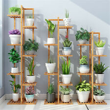 5/6 Tiers Vertically Bamboo Plant Stand Staged Flower Shelf Rack Outdoor Garden