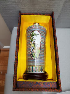 Taiwan Porcelain Vase in Box with Wood Base 11.25'' T Include Base