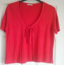 RED Short Sleeved Cardigan, Size 14 Holiday