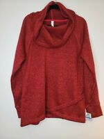 Ideology Womens Cowl Neck Long Sleeve Tulip Hem Red Gray Sweater Size Multiple