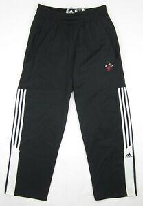 NEW! Adidas Miami Heat Basketball Fleece Lined Training 3-Stripe Pants Sz. LARGE