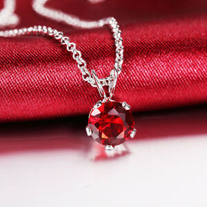 7mm Round Cubic Zirconia Mini Pendant Free Necklace Red Ruby CZ Travel Gift