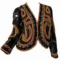 Vintage 80s Sequin Beaded Metallic Bolero Gold Silk Disco Party Evening Jacket S