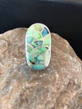 Stunning! Zuni Native American Opal Inlay Ring Sterling Silver. Sz 5