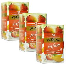 3 x TWININGS Infuso Strawberry & Mango Fruit Flavored Tea 20 Envelopes Box