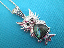 """Lovely Silver Plated Natural Abalone Wise Owl MOP Pendant 16"""" O Chain  (nk1295)"""