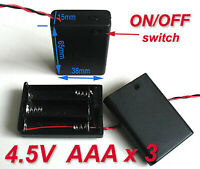 5pcs Battery Holder Box Case w/Wire 3 X AAA 4.5V Switch